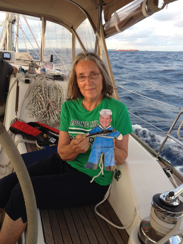 11. Anne and Flat Mr. Davis marveled over another flying fish found on Joyful's decks not far from Panama.