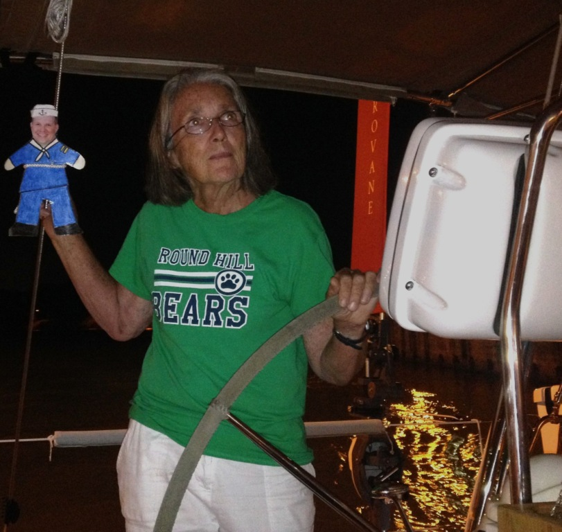 11. Flat Mr. Davis & Anne shared Joyful's helm in Panama Canal.  Joyful entered the canal after dark.