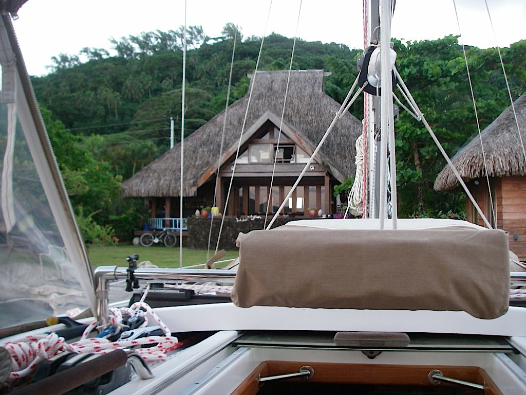 12. Joyful was invited to stay at Teiva's floating dock by his beautiful Polynesian house.  Thank you, Teiva and Jessica!  Maoruru!