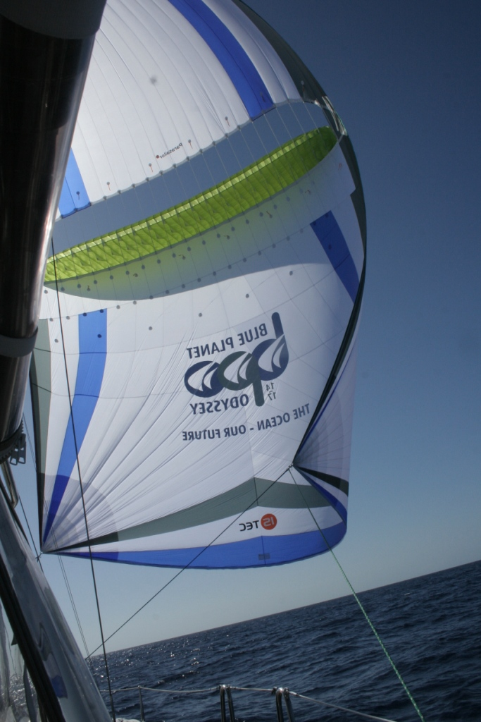 2. Joyful sometimes sailed using her high tech light weight downwind sail called a Parasailor.