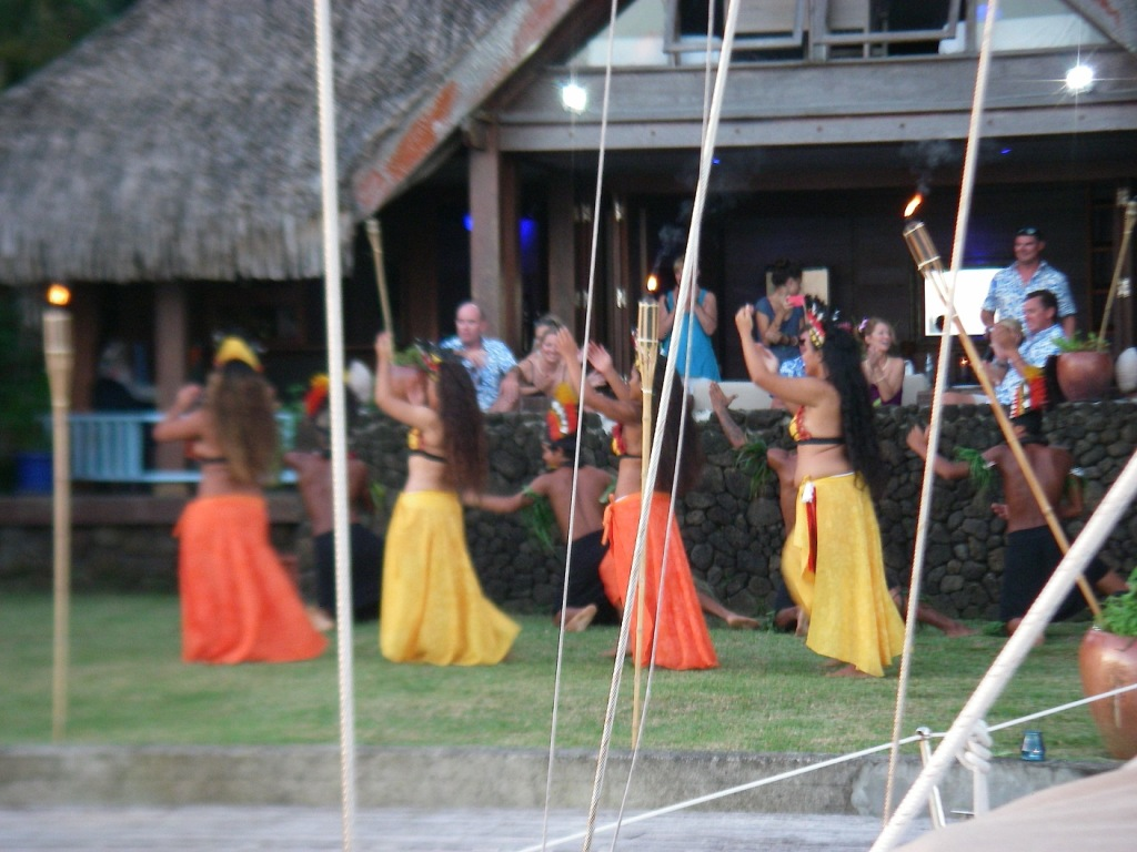 26. Joyful's view of Polynesian dancers in Teiva's garden.
