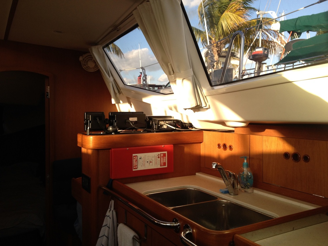 29. Joyful's galley facing aft.