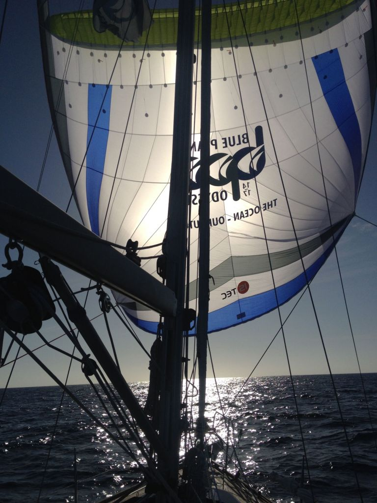 2a. Sometimes Joyful sailed with her Parasailor, a lightweight sail used for sailing downwind in light wind conditions.