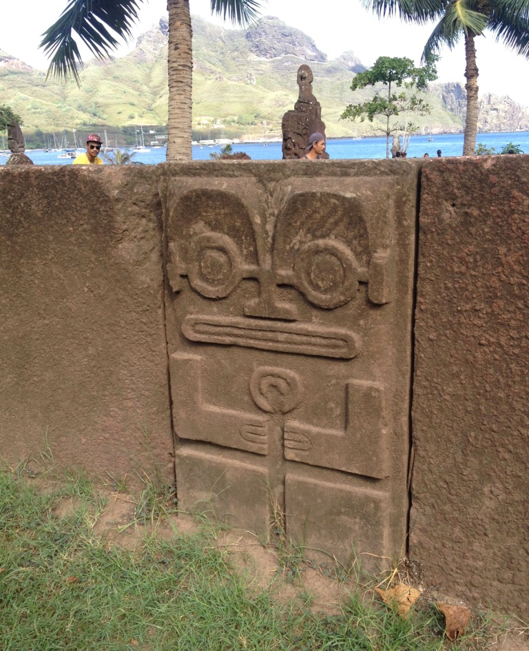 30. Tiki symbols are prevalent in Nuku Hiva, and one is included on their island's official flag.