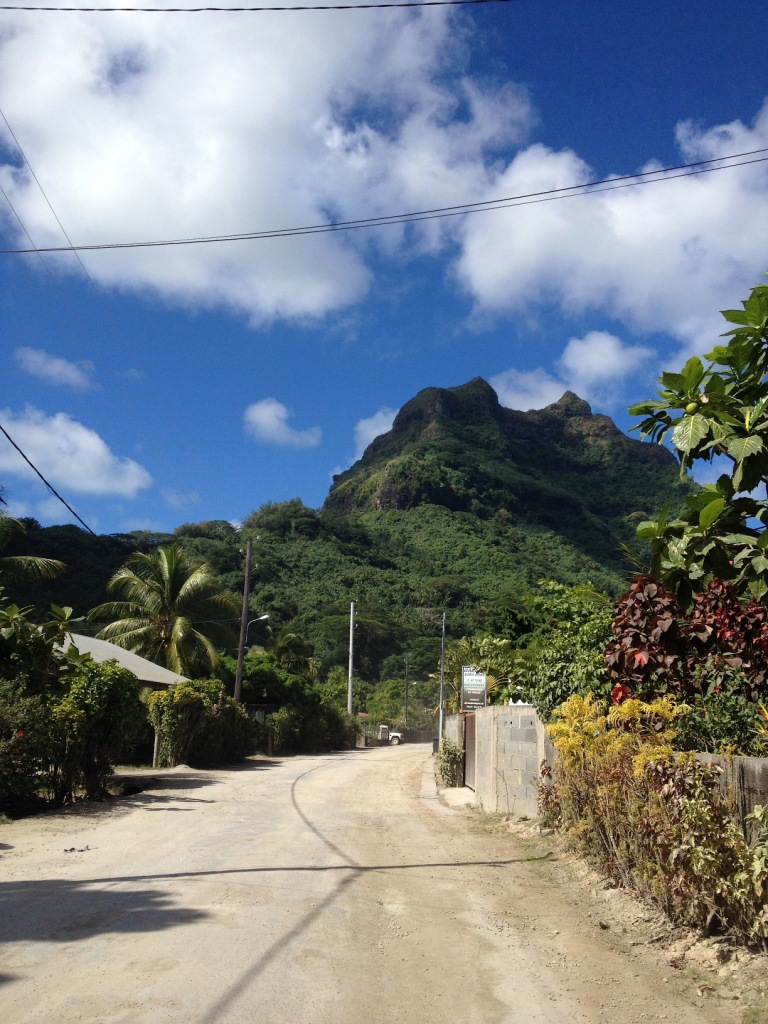 37. There was one road circling the island of Bora Bora.  This view near Teiva's house, faced the town of Vaitape.  Mr. Pahia, a 661 meter high volcanic peak was in the distance, and Vaitape was at its base.