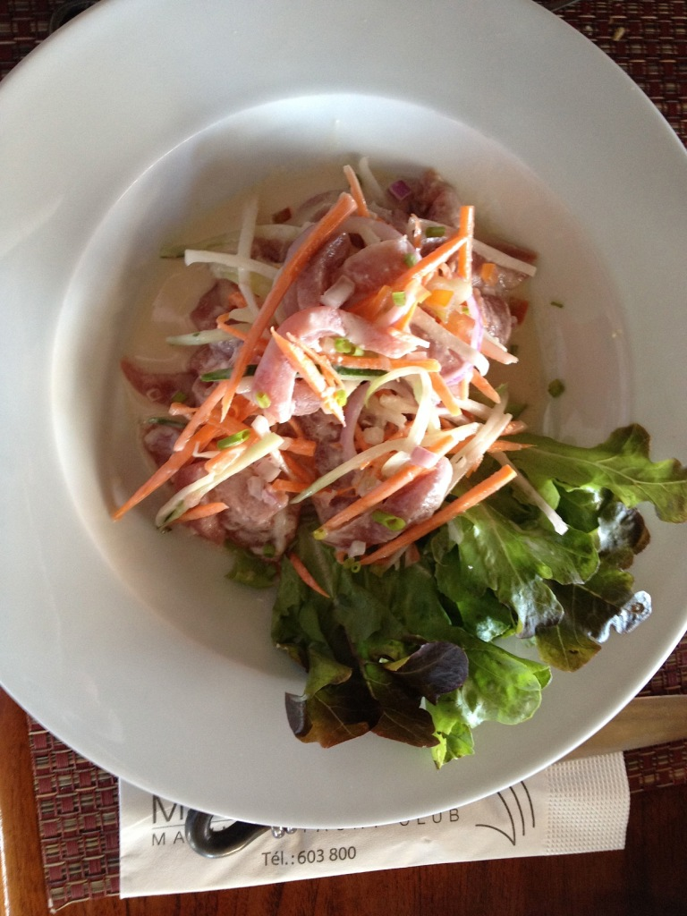 39. One of the favorite foods of French Polynesia is what is called in French, Poisson Cru au Lait de Coco , which is raw fish in coconut milk and lime juice, served with slices of cucumber, carrots, and sometimes other local vegetables.