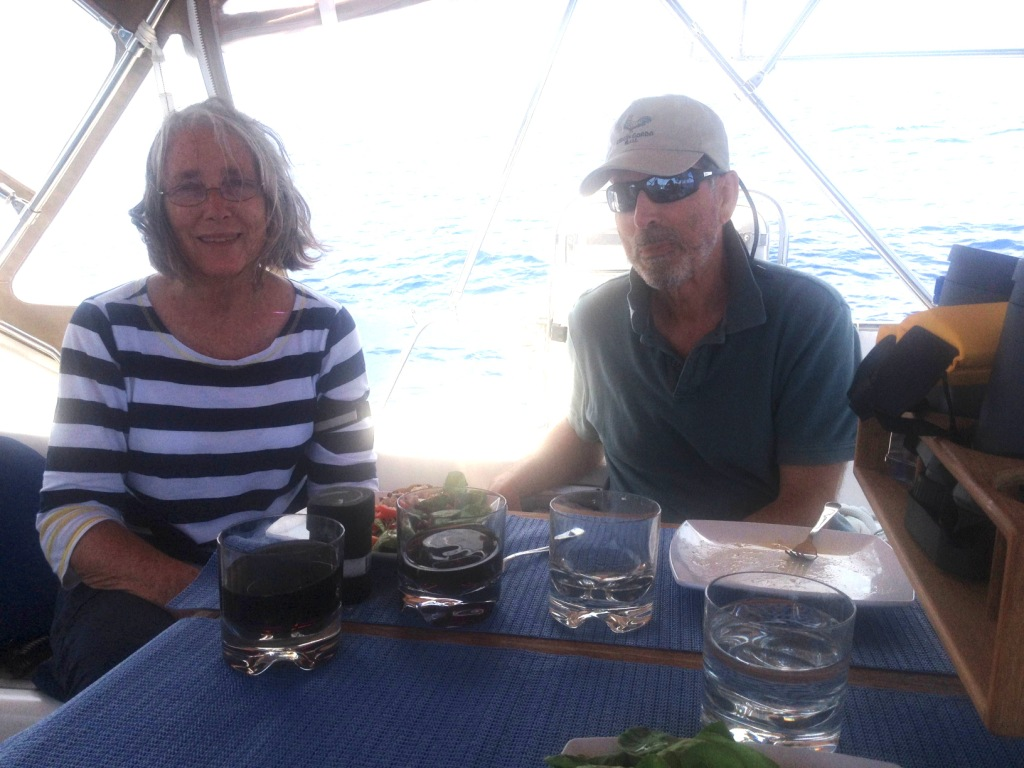 4. Anne & Ruud in Joyful's cockpit as they ate lunch.