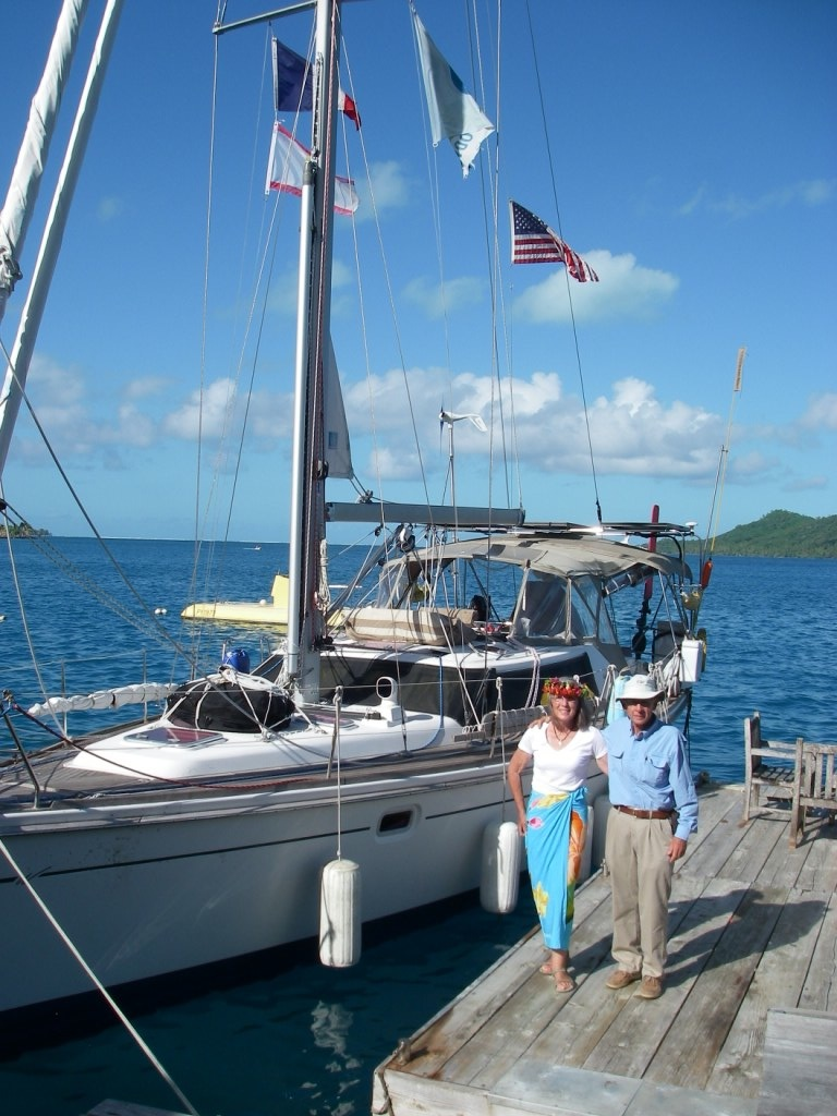 4. Joyful, Anne, & Jeff, docked at Teiva's house in Bora Bora.  Thank you, Teiva and Jessica!