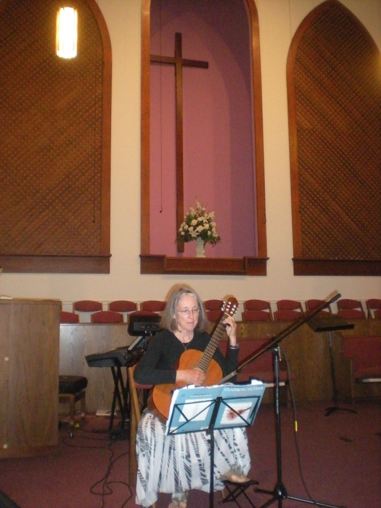 42. Music ministry - Anne playing guitar at First Baptist Church of Theodore.