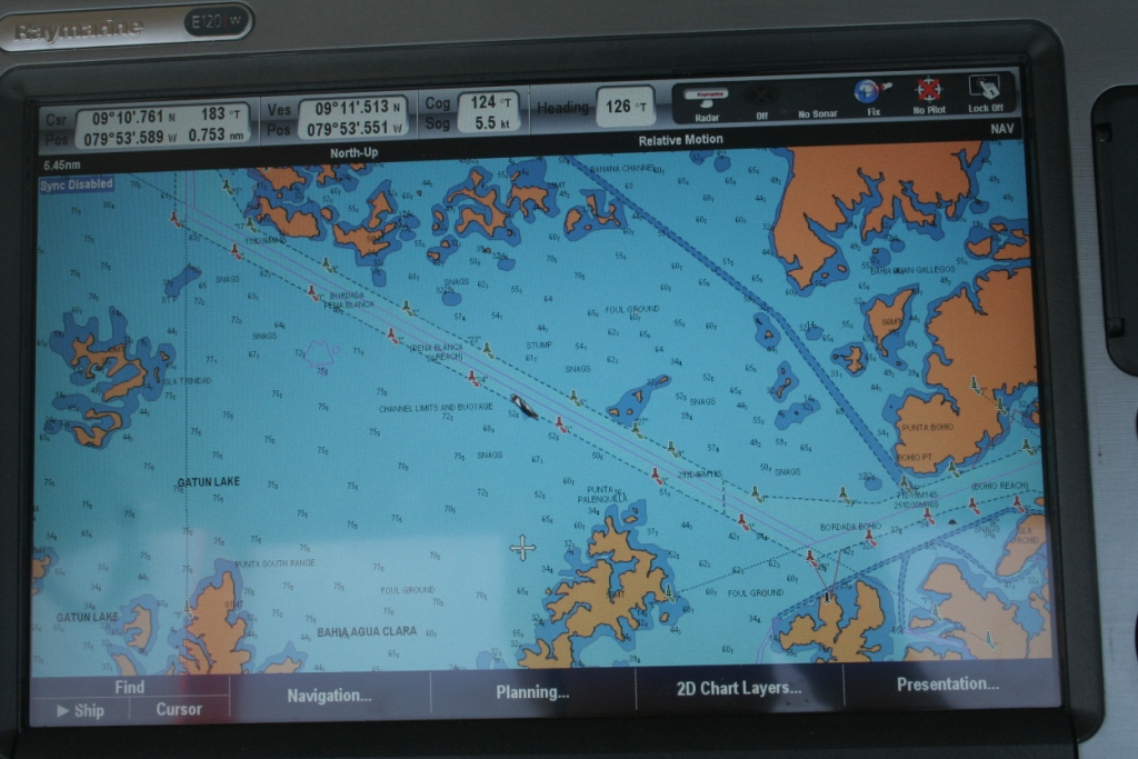 46a. The chart plotter showed Joyful's location in the channel in Gatun Lake, on the way to the locks leading downward to the Pacific Ocean.