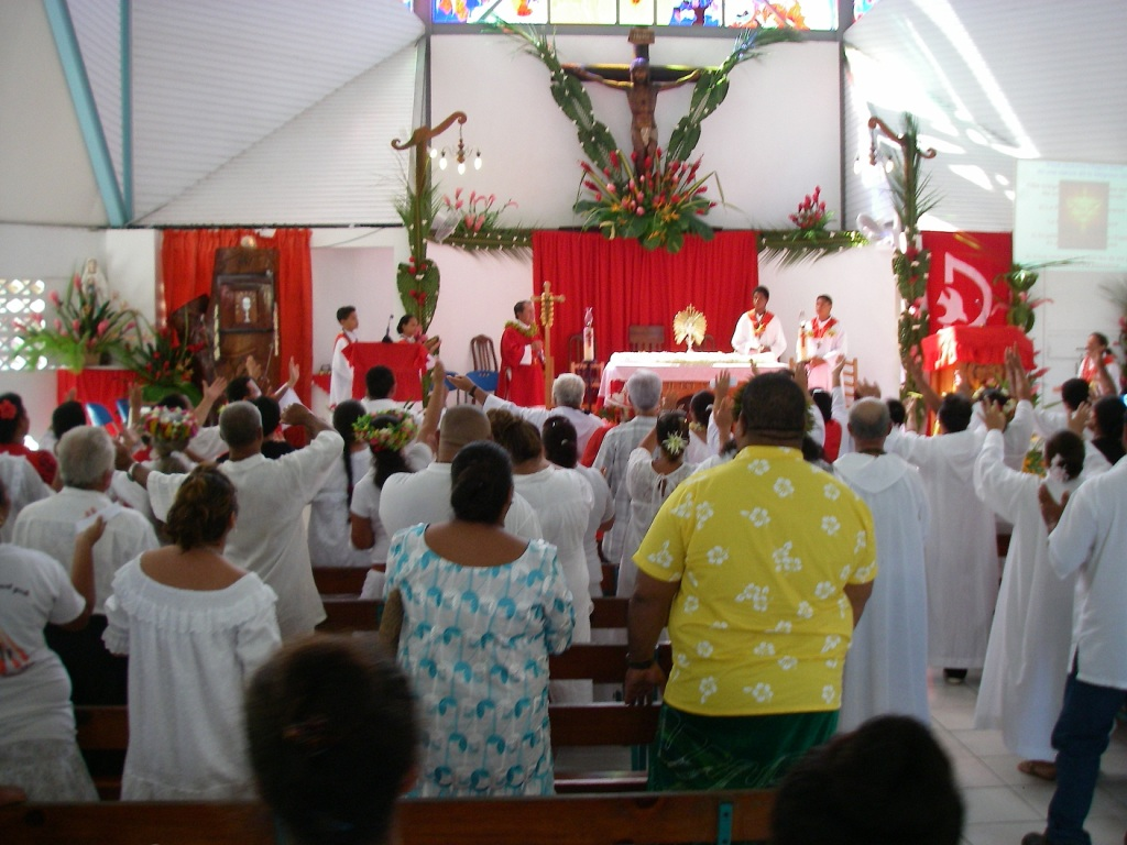 48. The Catholic Church in Vaitape, was always filled with worshipers.  The services were given in a mixture of French and Tahitian languages.  Locals welcomed Jeff and Anne, sometimes with the French greeting of a kiss on both sides of the face.