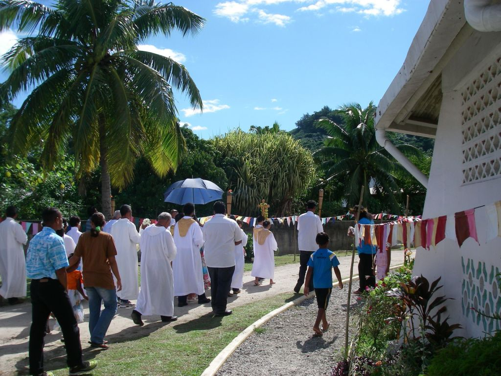 49. A Catholic church procession in Vaitape, Bora Bora.