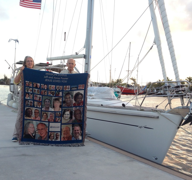 51. Joyful's start of BPO at Key West.  Anne and Jeff are holding the Mission Joyful blanket the congregation of Huntsville First United Methodist Chapel presented them during their consecration and commissioning ceremony for missionary work.