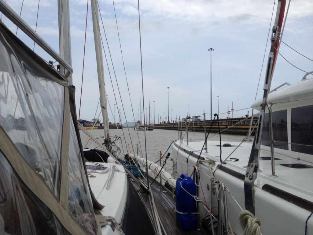 56. Joyful, Aventura & the catamaran rafted up again for the transit of the higher of the two Miraflores Locks.
