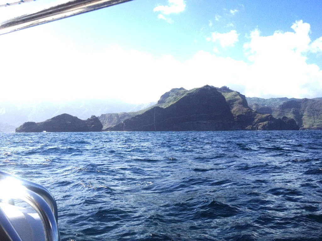 61. Nuku Hiva, the Marquises Archipelago's largest island.  If you look closely, you can see the large deposit of crystaline rock in the lava, which forms the %22Crystal Cross%22 loved by the Marquisan people and sailors approaching the island.