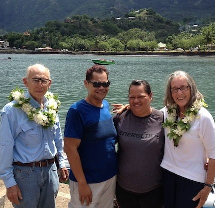 65. Emmanuel, Conchita, Jeff, Bill, and Anne said %22adieu%22 before Anne, Jeff, and Bill sailed Joyful away to Bora Bora.