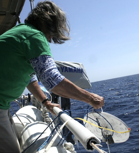 7. Flat Mr. Davis and Anne made a second attempt for a Secci Depth on March 21, but the current was too fast.
