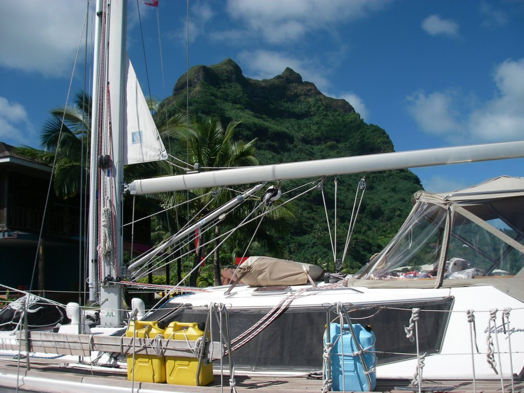 7. Joyful docked in the lee of one of Bora Bora's lush mountains, Mt. Pahia. We felt so blessed to see this breathtakingly beautiful 661 meter high volcanic mountain so close from Joyful.