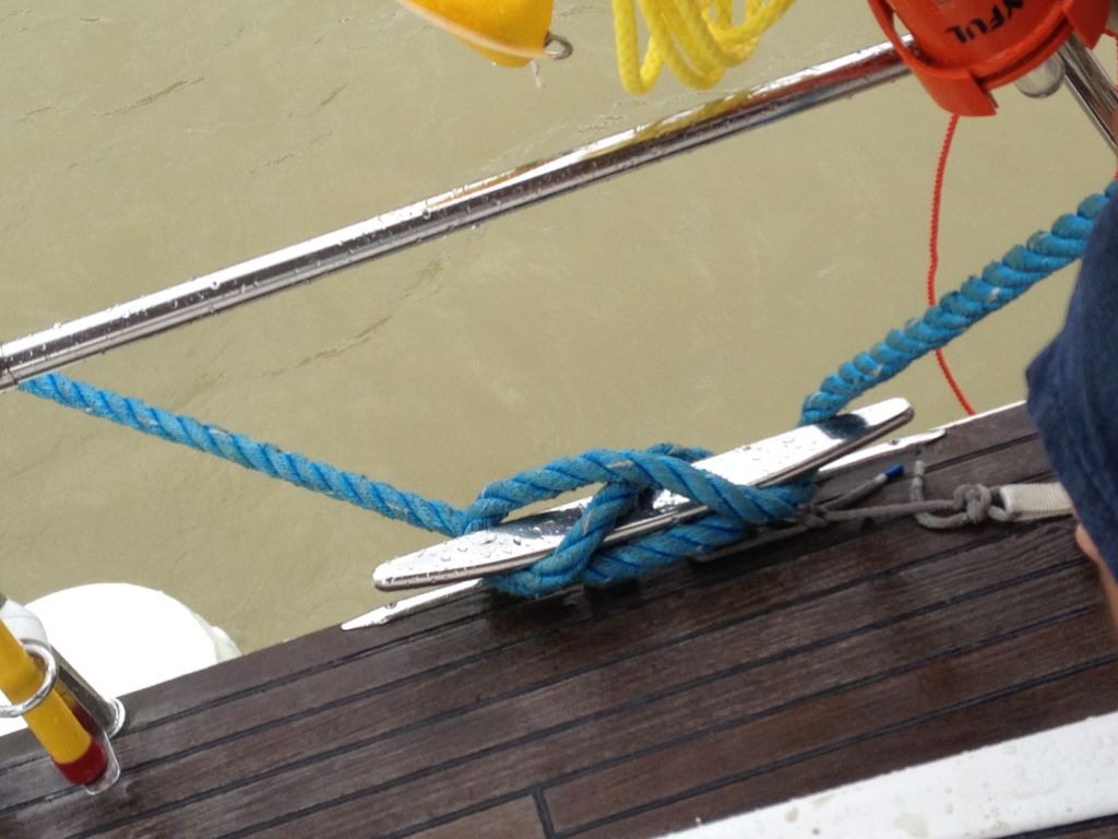 75. Joyful's floating line was cleated off and was ready to be adjusted as the water level went down.