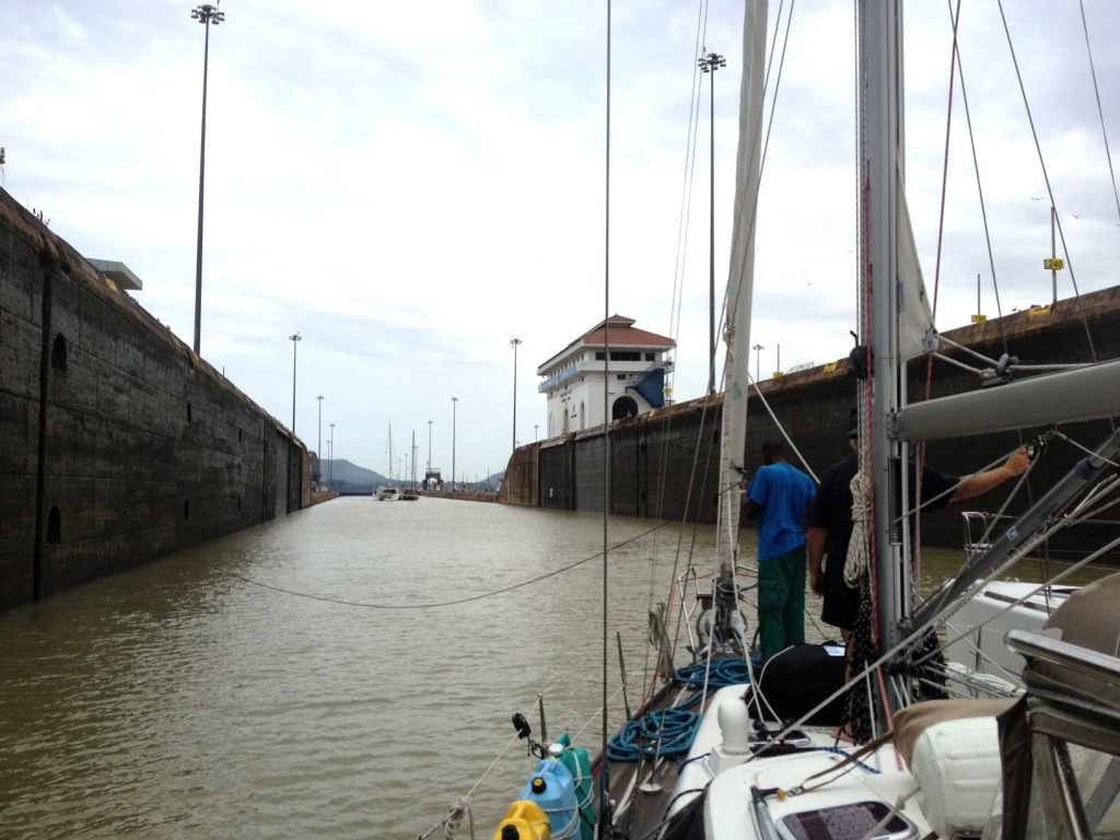 86. Joyful was ready to be walked forward to enter the lower Miraflores lock, the last lock before the Pacific Ocean.