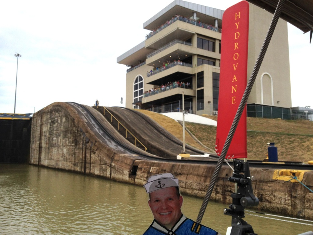 88. Flat Mr. Davis in the lower Miraflores Lock in the Panama Canal.  The observation tower at the top was packed with well wishers.