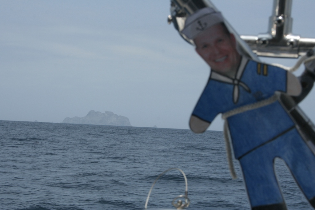 9. Flat Mr. Davis saw the Isla Malpelo first, when he yelled, Land ho!  It was not far from Panama between Panama and the Galapagos Archipelago.  Bravo, Flat Mr. Davis!