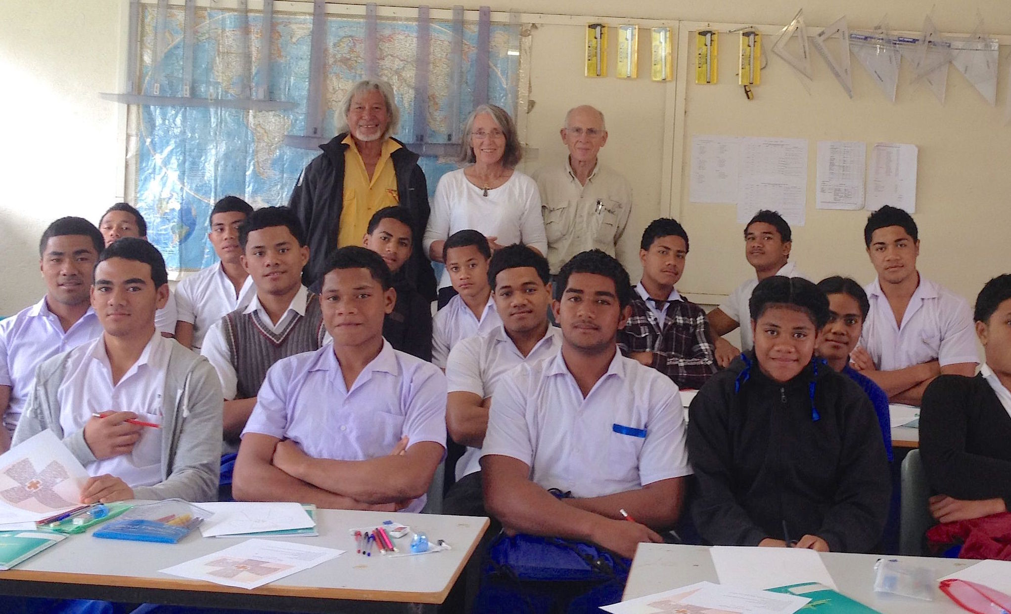 151. 17 and 18 year old students at the Weslian High School with Anne, Jeff, and their Samoan friend, Mailagi