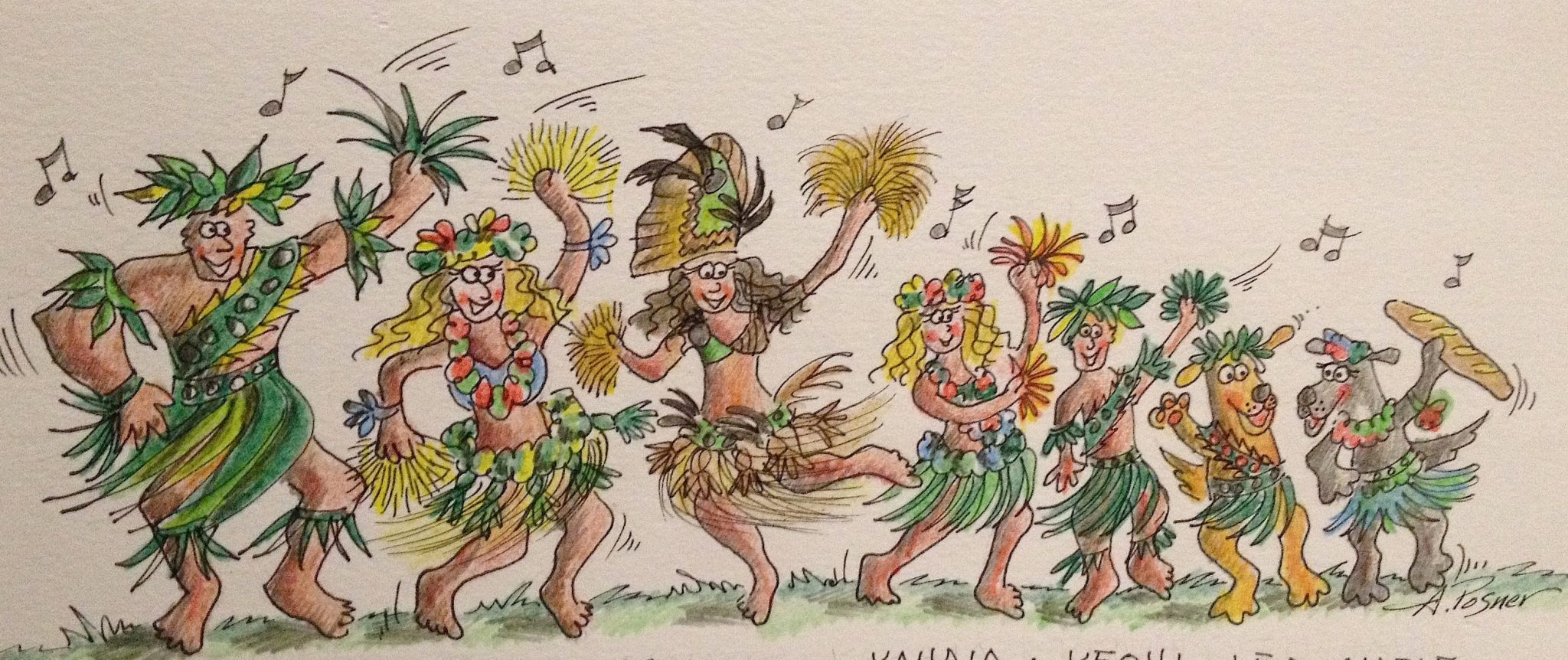17. This is Anne's cartoon of Teiva & his family at Bora Bora Heiva 2015.  Their lovely daughter, Tamatea, danced in the Faanui finals.  As you can see, one of their dogs has only three legs, & the other loves to eat entire French bagettes of bread!