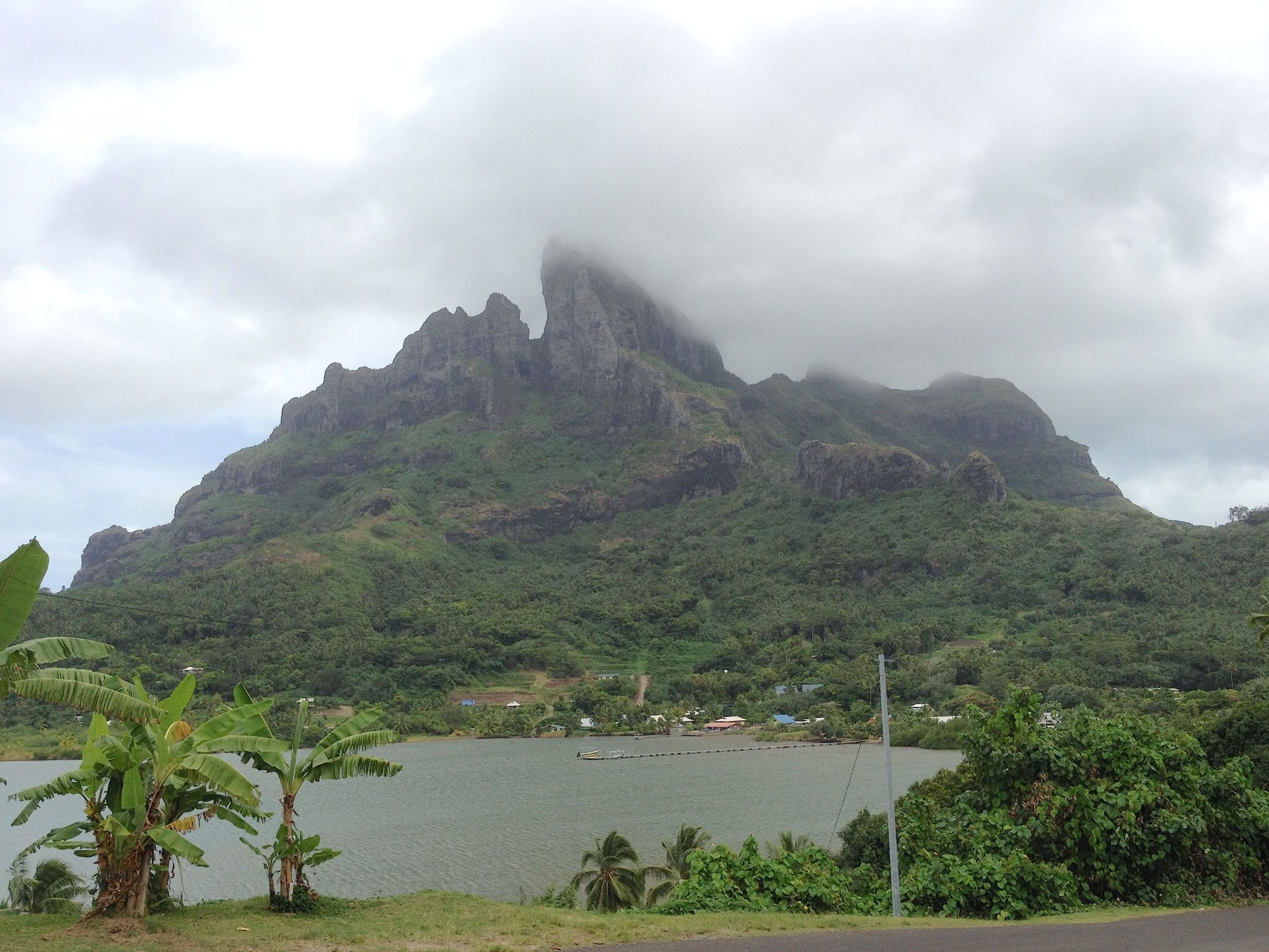 22. Bora Bora's Mt. Otemanu was shrouded in the afternoon rain clouds viewed from the north east