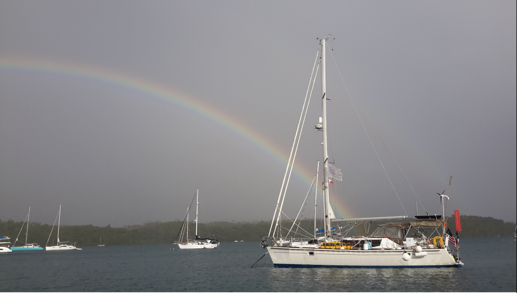 23. Joyful with a double rainbow in Tonga