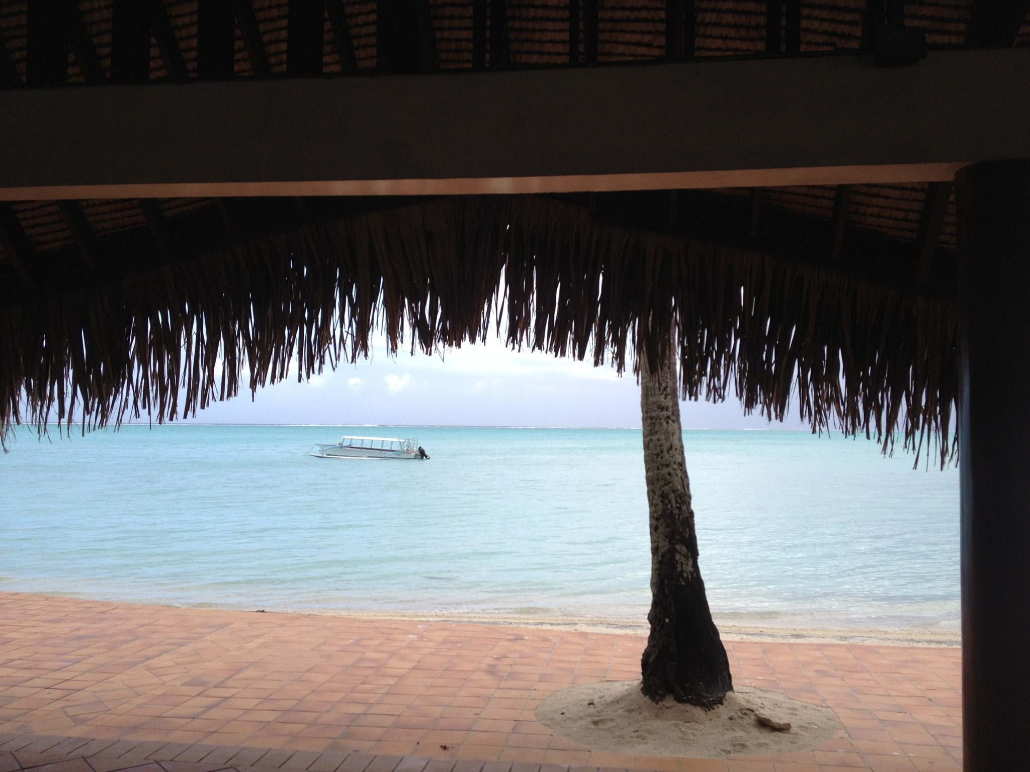 24. We walked on this serene beach on the northern part of Bora Bora's lagoon.  The roof was made of pandanus leaves from a nearby island