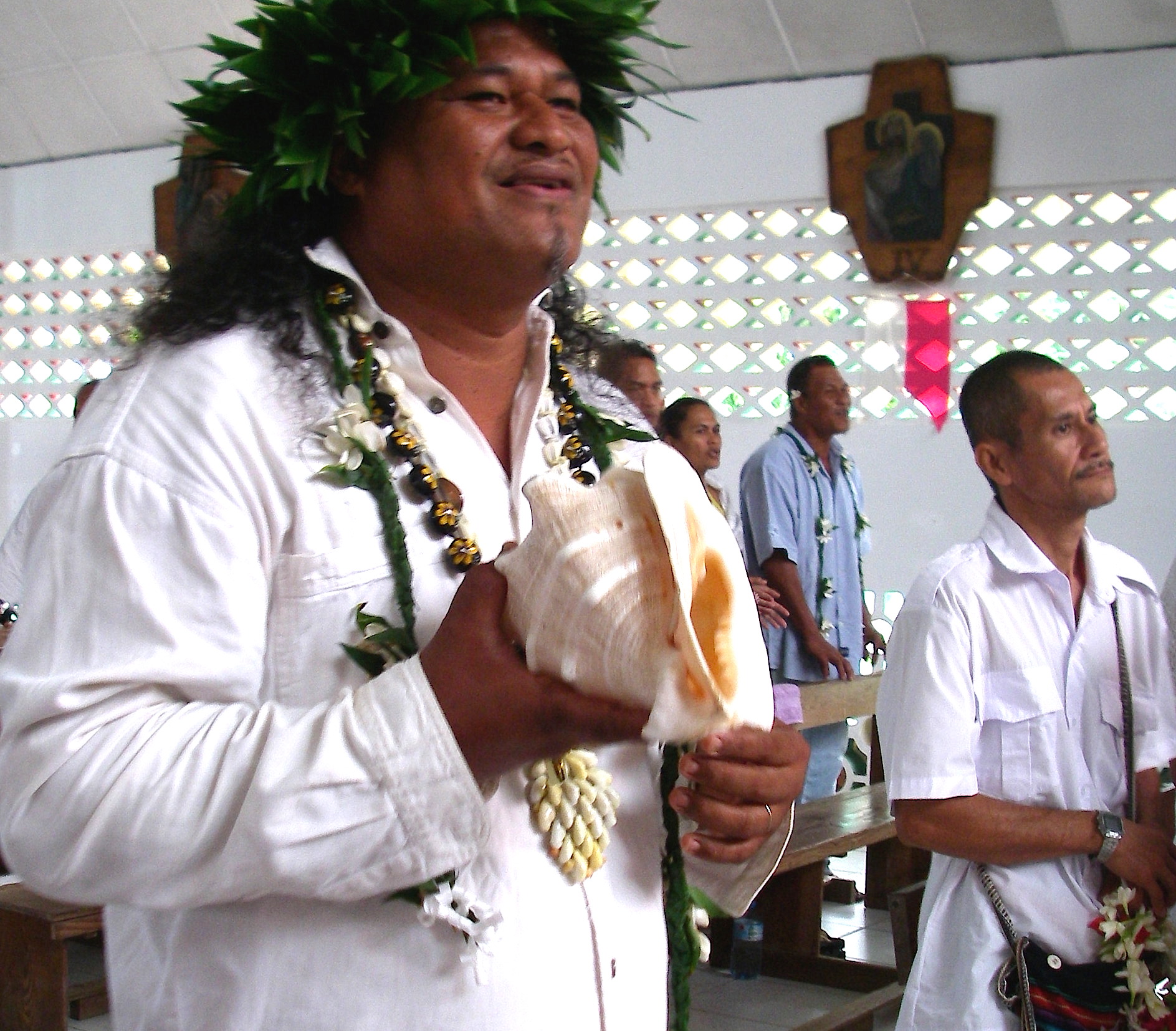 35. A Polynesian Christian brought his traditional conch shell horn to church every Sunday in order to praise the Lord during certain hymns