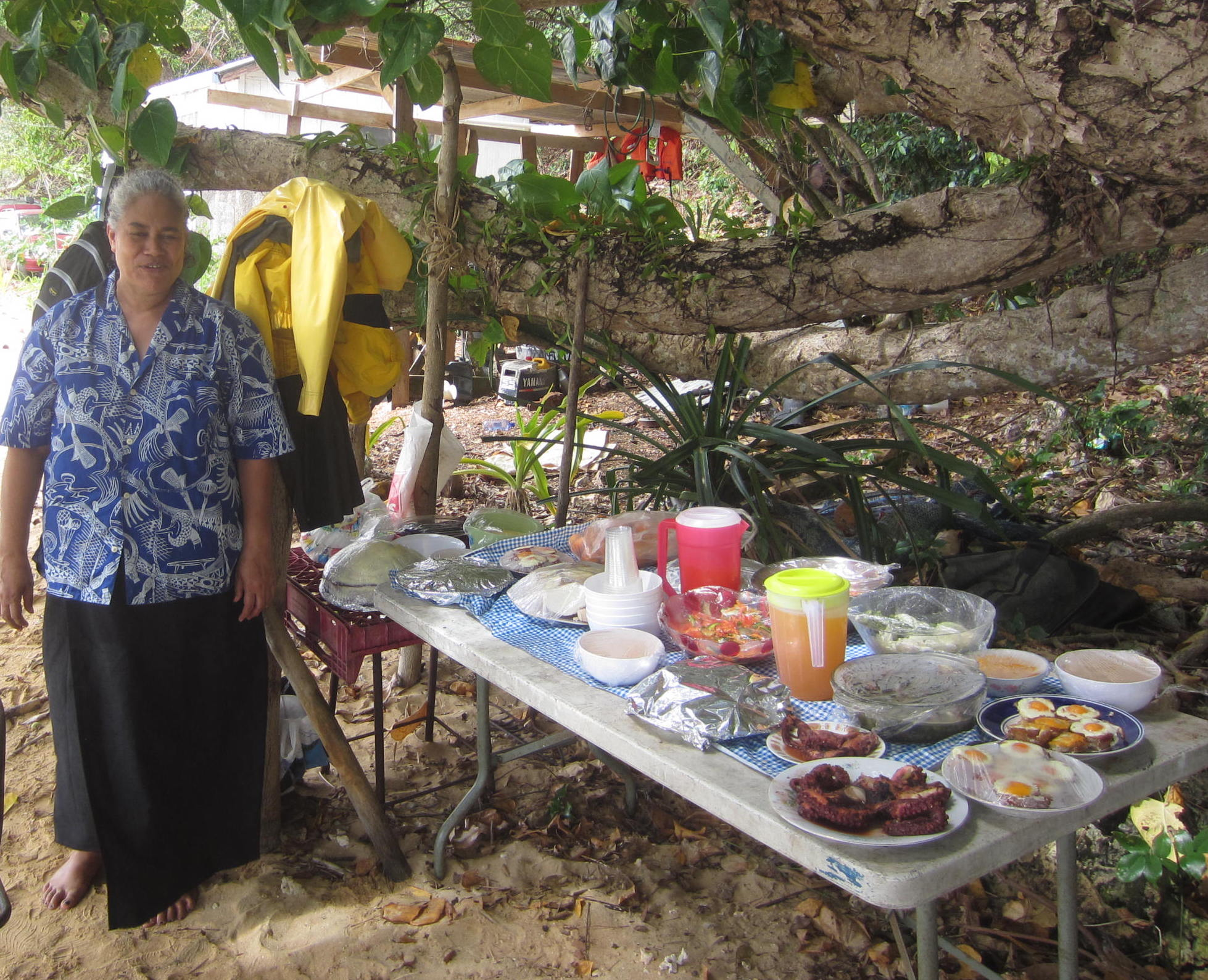 41. Ana prepared a traditional Tongan feast for us. It was truly a magnificent spread of all types of meats, fish, vegetables, and fruit!