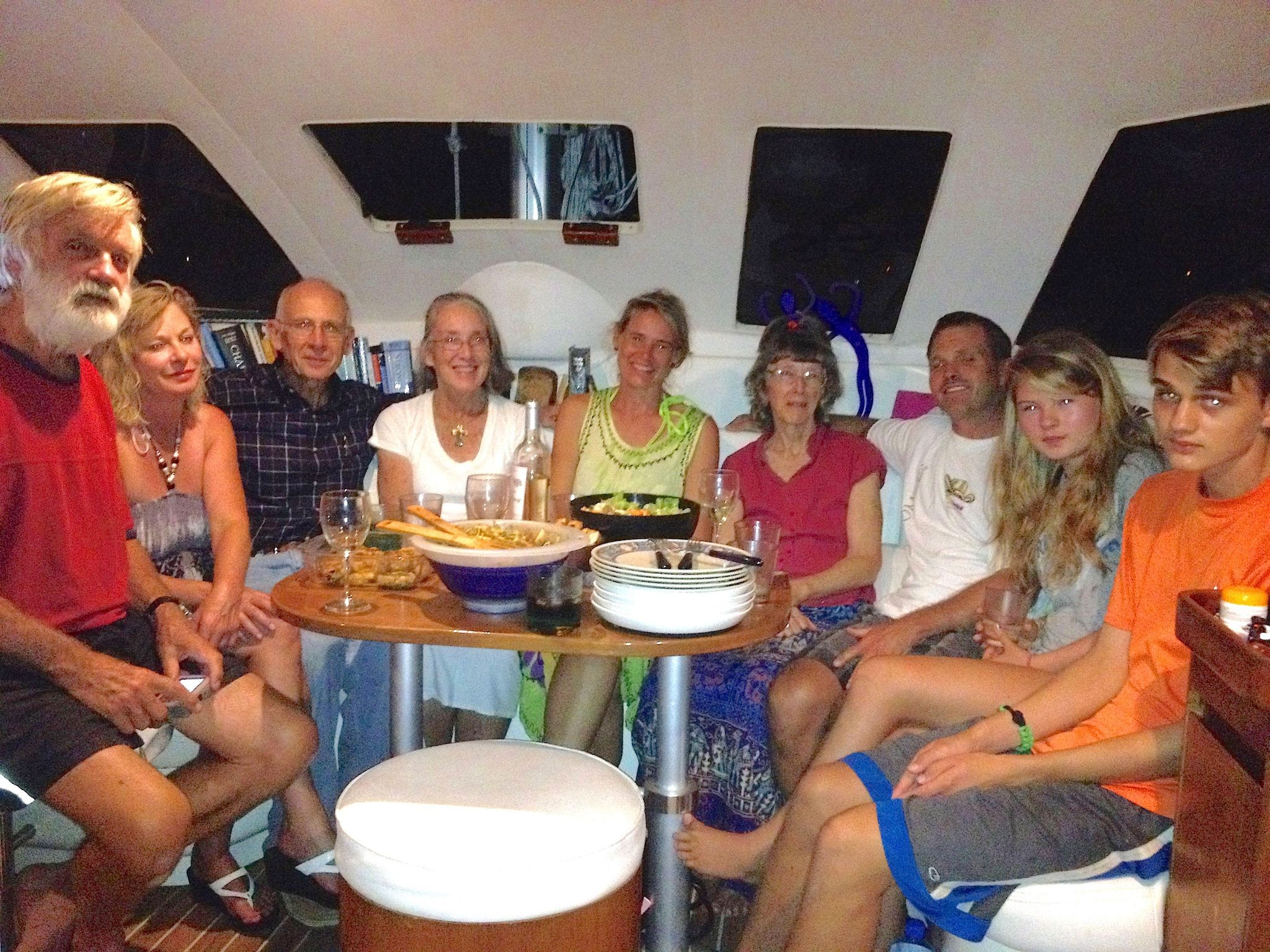 49. We met many sailing missionaries in Bora Bora whom we named Sailors for Christ.  David took this photo of the group on his boat, Sea Angel.  From left to right- Phil, Karen, Jeff, Anne, Beatrice, Pam, Ken, Gabriella, Josh.