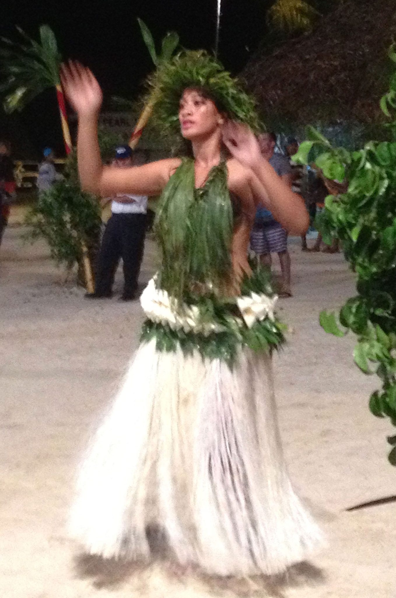 5. A lovely Tiipoto dancer made her skirt from hibiscus fiber, banana tree bark, and green leaves. Every dancer must construct their own clothes from indigenous materials from Bora Bora