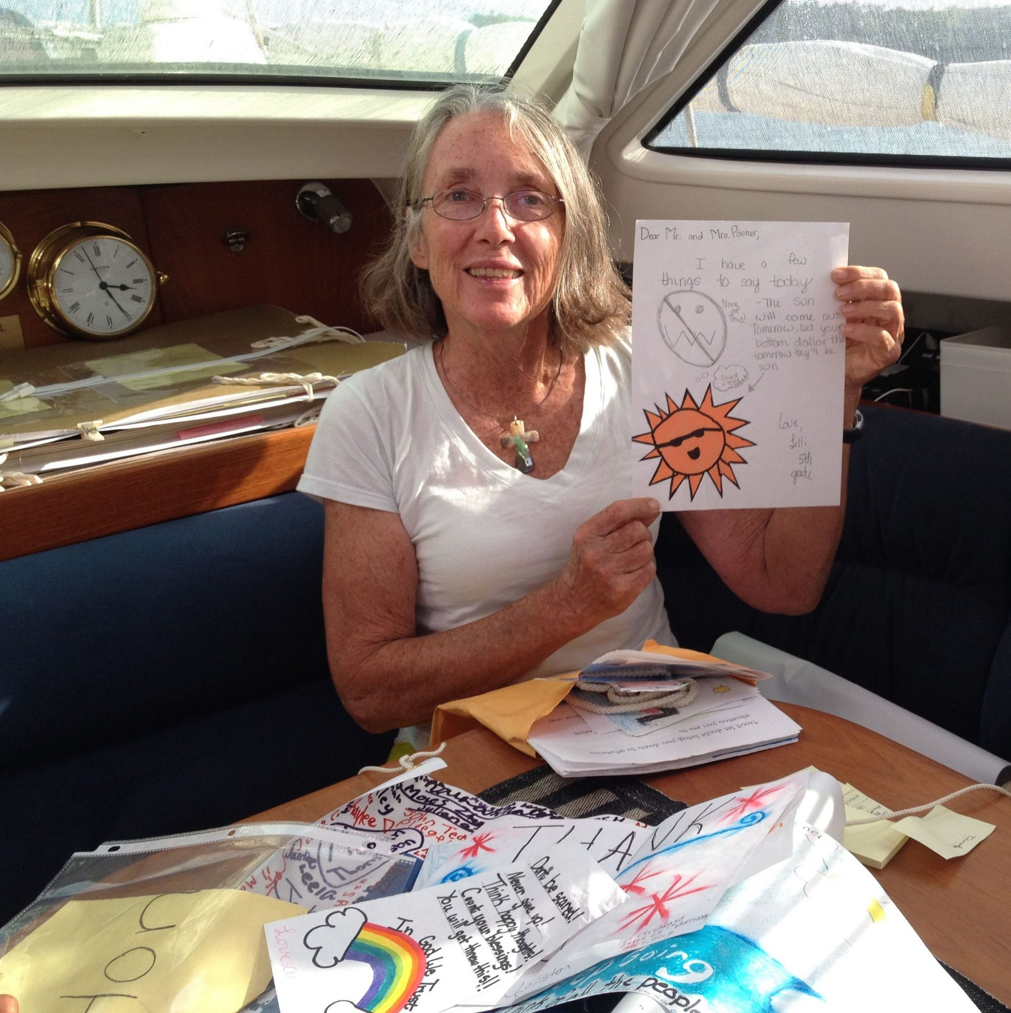 54. Lilli, a student in the 5th grade at Round Hill Elementary School, was one of many students who kindly made wonderful cards for us to open as we sail Joyful around the world. I opened this on my birthday! Thank you Lilli and all Bears!