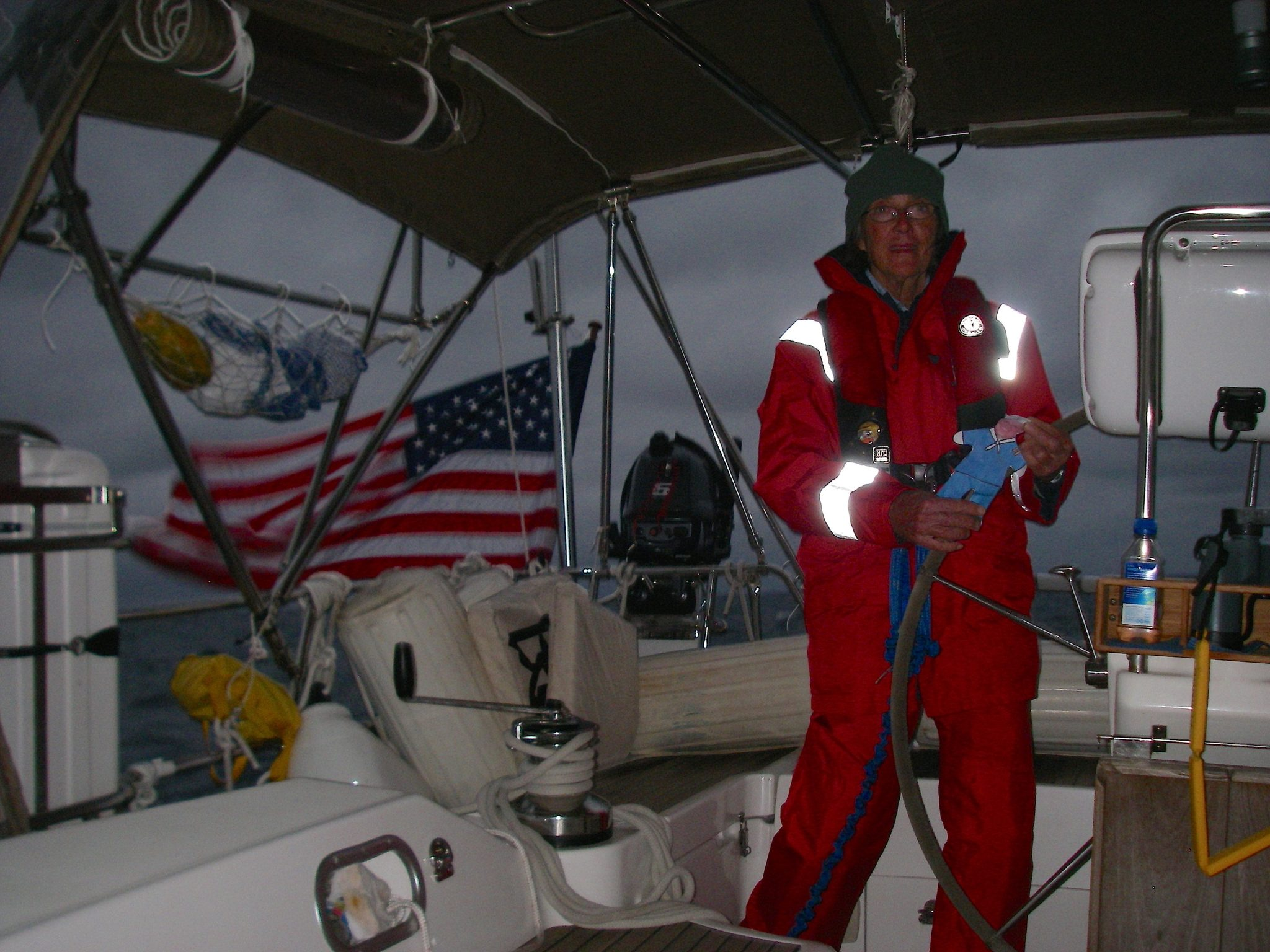 16. With high wind and rough seas, Flat Mr. Davis and Anne start their three and a half hour long night watch