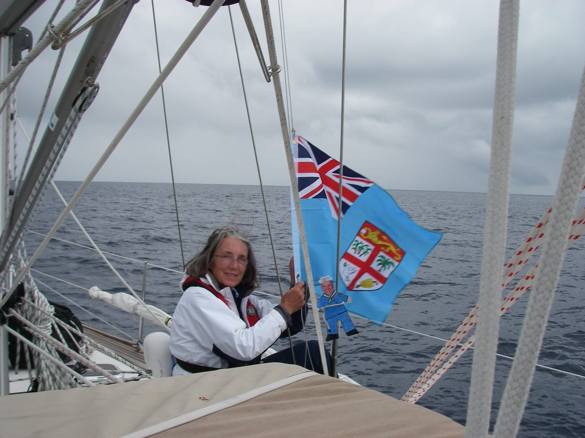 37. On passage from Tonga to Vanuatu, Flat Mr. Davis & Anne hoisted the Fiji courtesy flag as Joyful sailed through Fijian waters. Joyful did not stop in Fiji because she wanted to catch up with the BPO fleet, so the yellow Q flag was not needed then