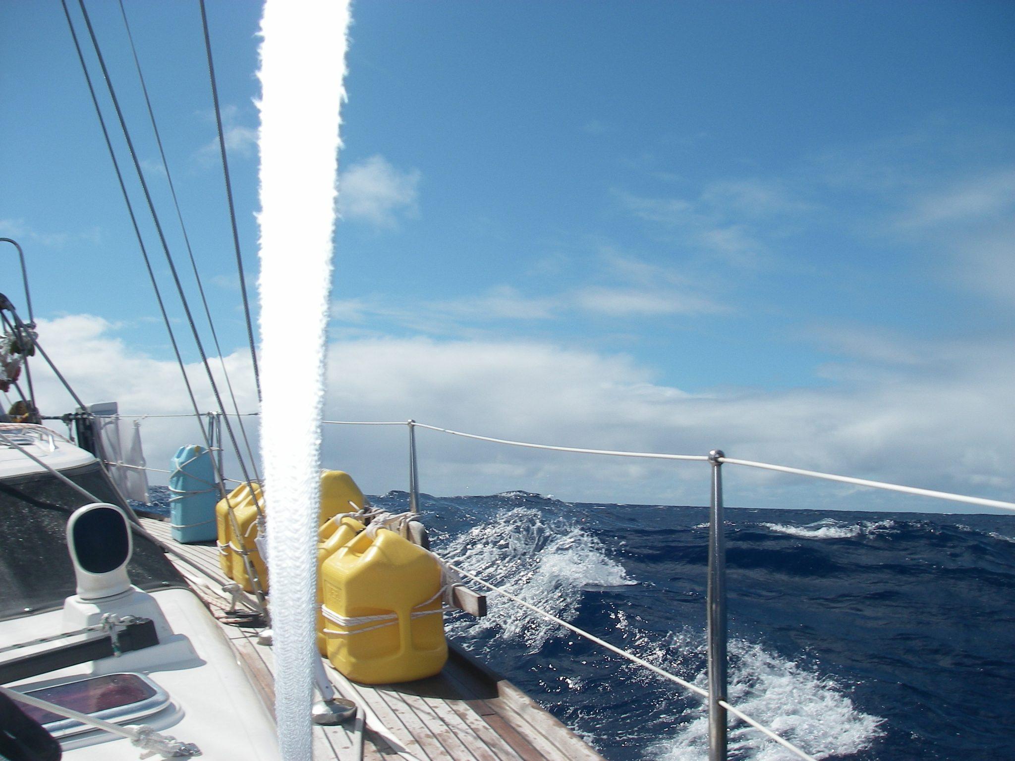 45. Sometimes the sea splashed onto Joyful's decks