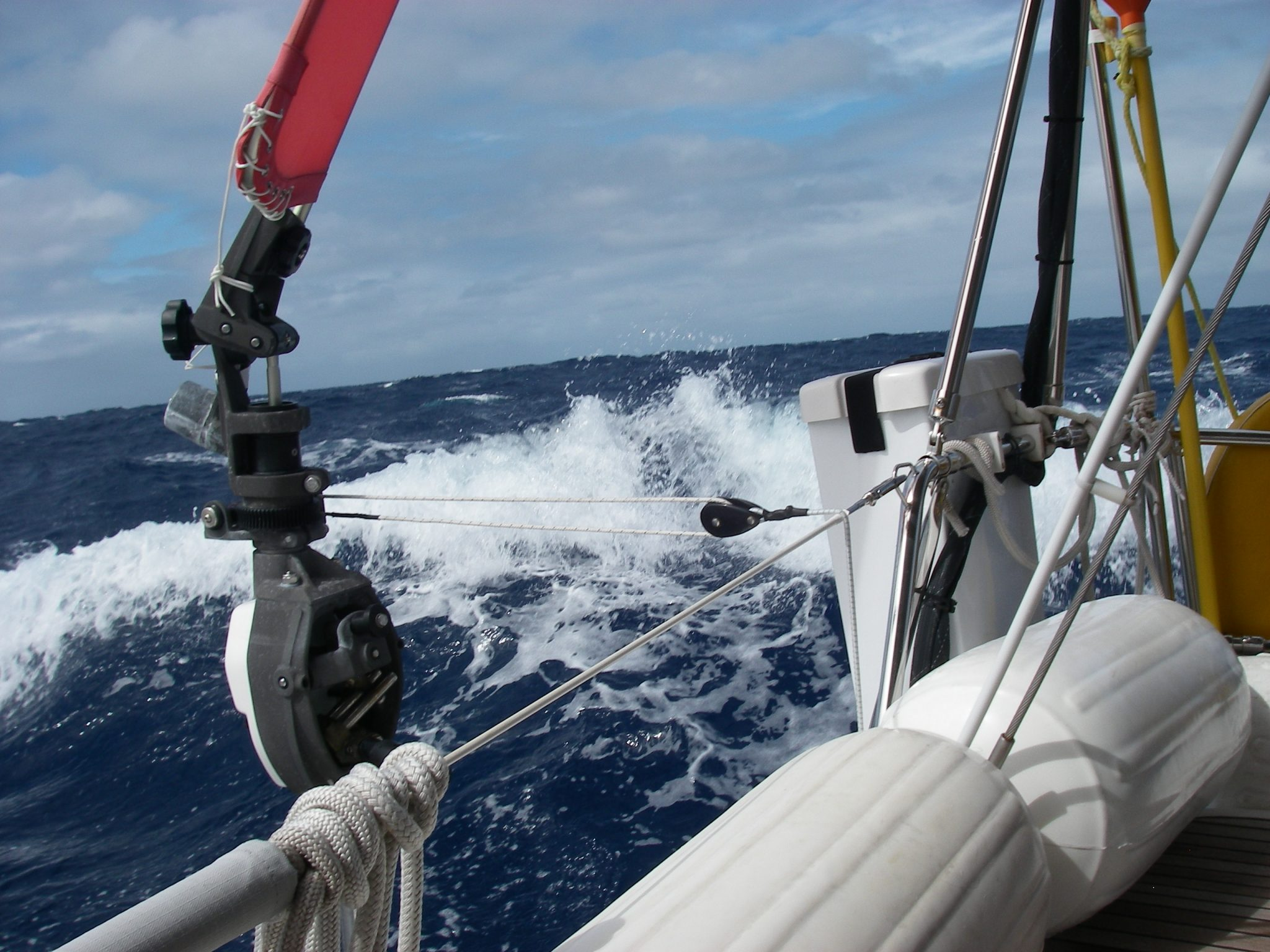 49. Joyful's Hydrovane wind steering device performed well. It saved wear and tear on the person on watch, and electrical power that would have been necessary for the autohelm to steer the boat