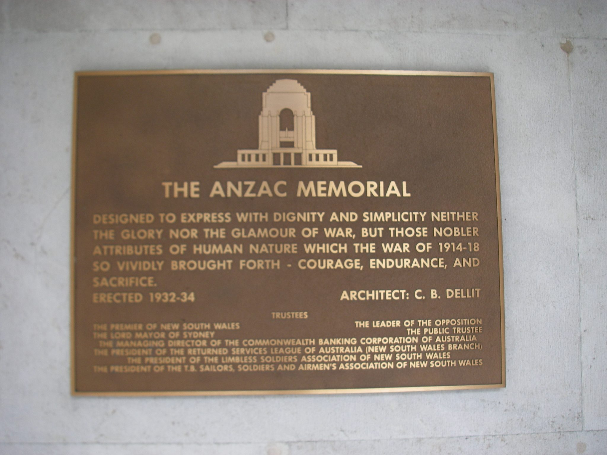 102. The plaque explaining the ANZAC Memorial in the heart of Sydney