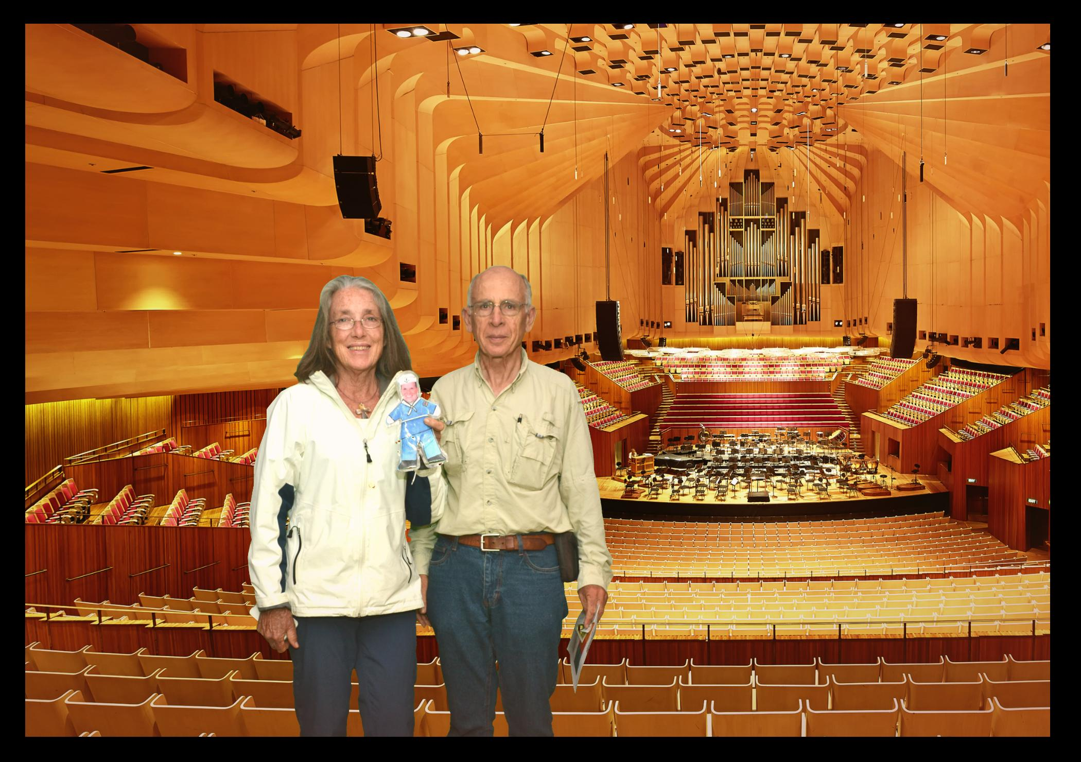 112. Flat Mr. DavisJeff & I posed for a photo at the Sydney Opera House as they will not allow photos during events. They digitally placed various scenes of the interior and exterior be