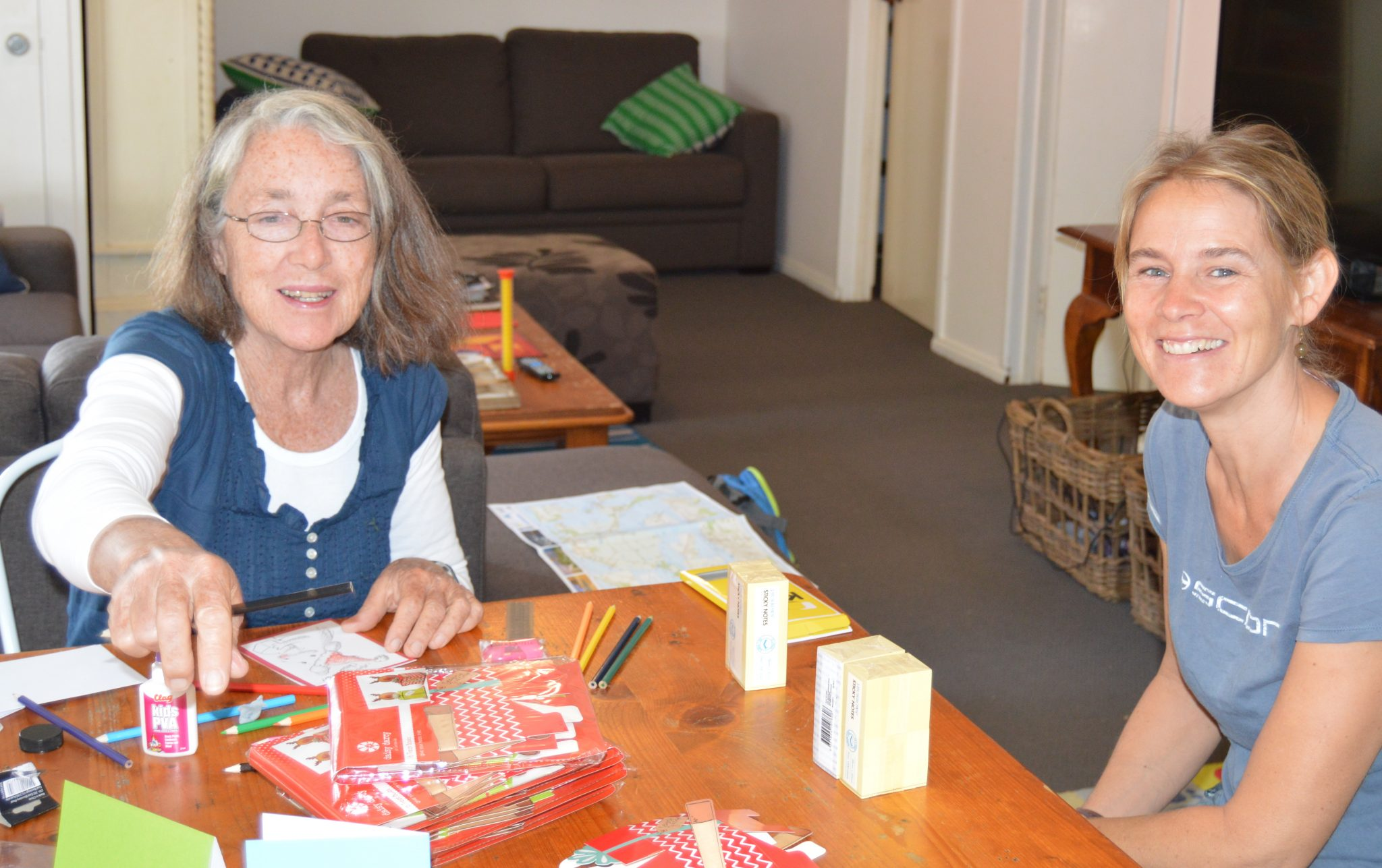 119. At the house our sailing friends rented in Phillip Island, Anne prepares to teach an art ministry event as fellow sailing missionary, Beatrice helps. Beatrice and her daughter, Gab