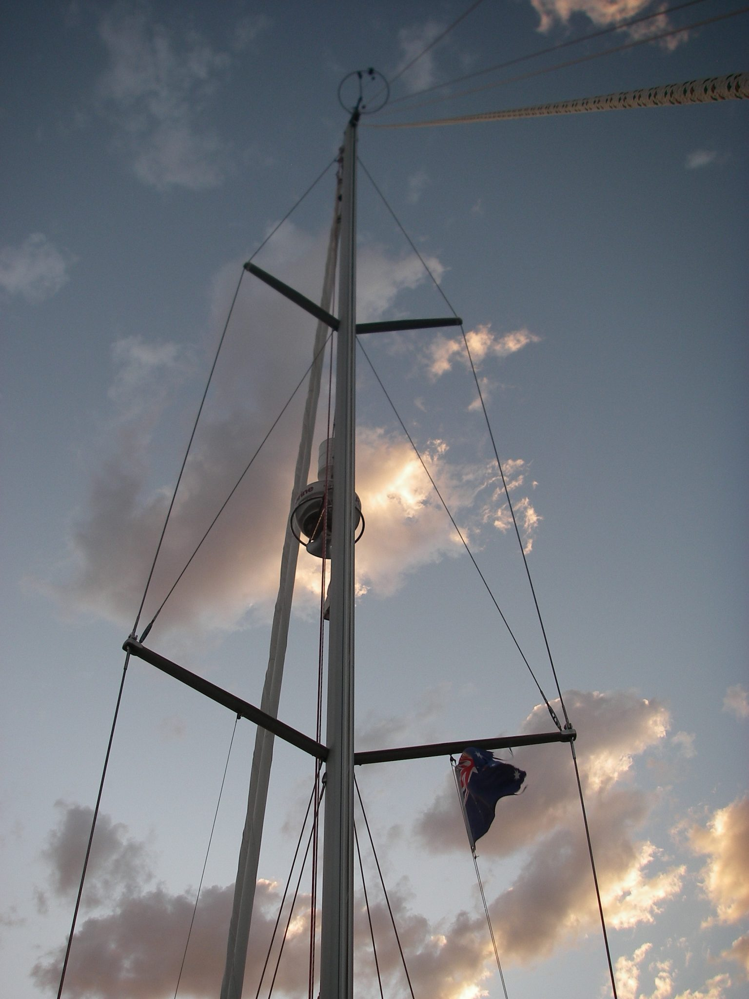 13. Pittwater sunset with Joyful's Australian courtesy flag flying from her starboard flag halyard