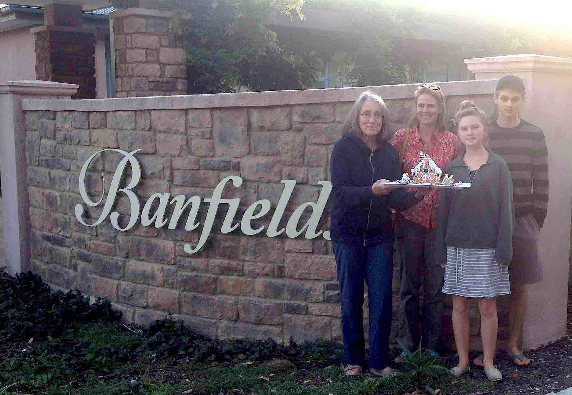 134. Anne giving her gingerbread house to the Banfield Aged Care Center, Phillip Island, Australia