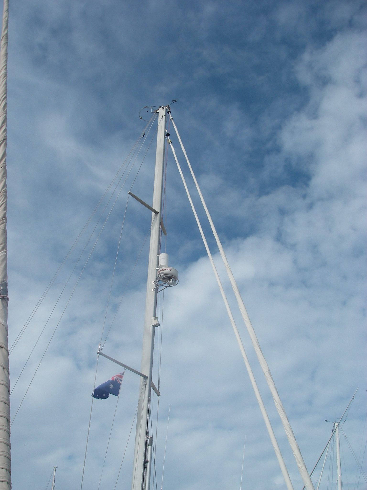 20. Joyful needed a new Australian courtesy flag because half of it had been shredded as it hit Joyful's standing rigging when the wind blew hard