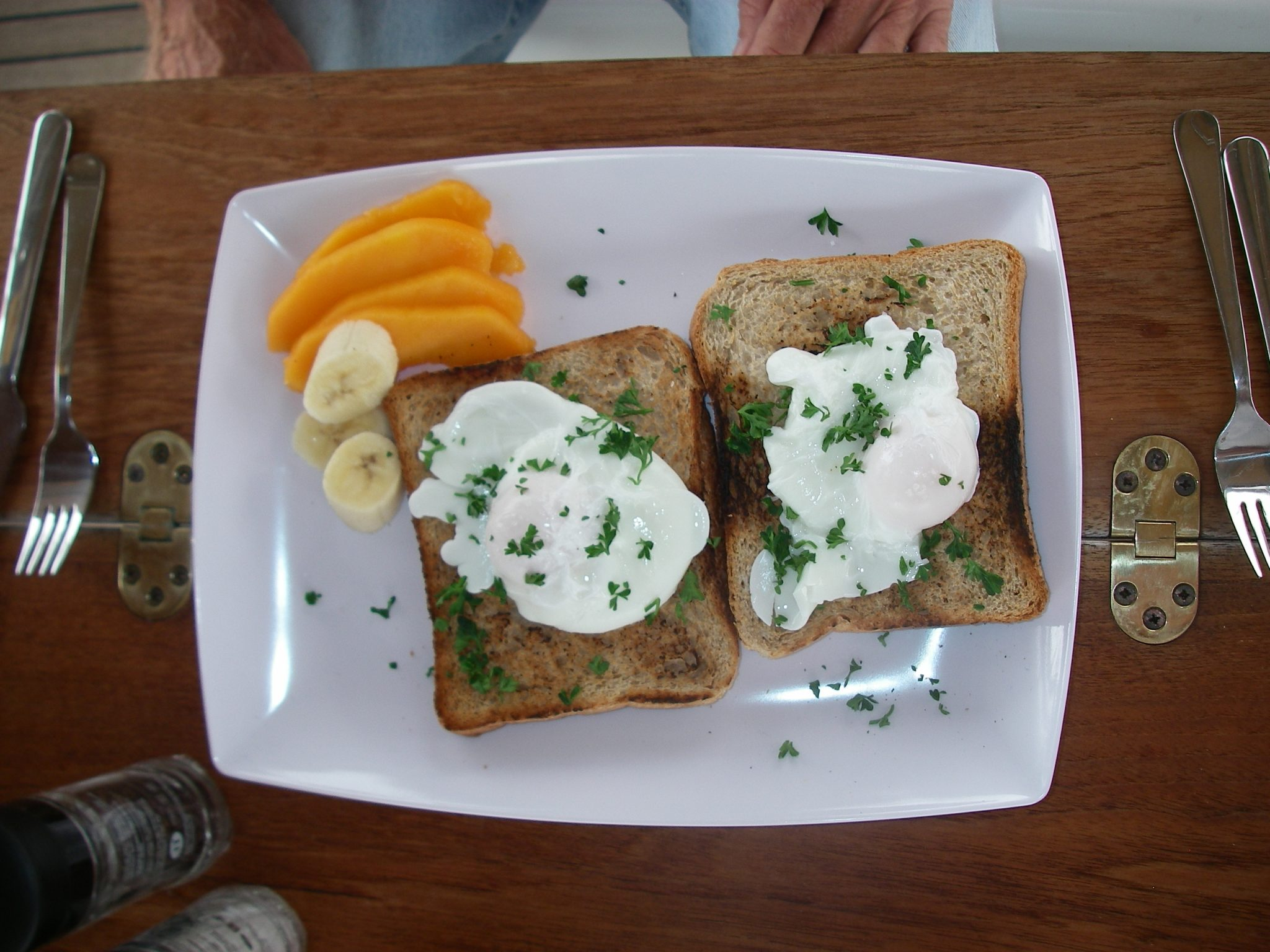 22. Kind Rod made everyone delicious poached eggs with parsley