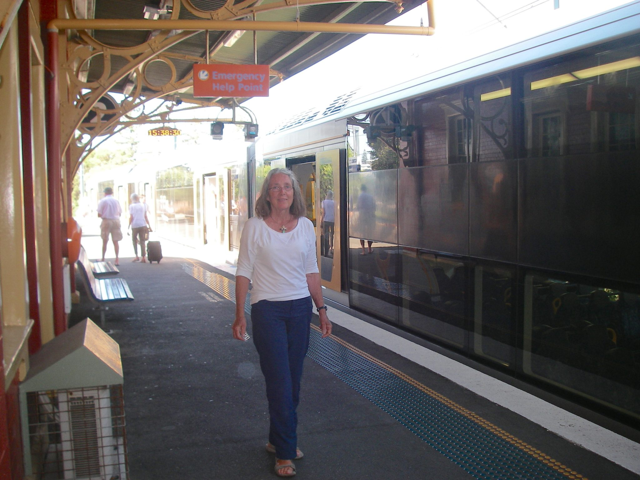 25. Anne at train station near Sydney, Australia. The Australian train system is clean, efficient, and on time!