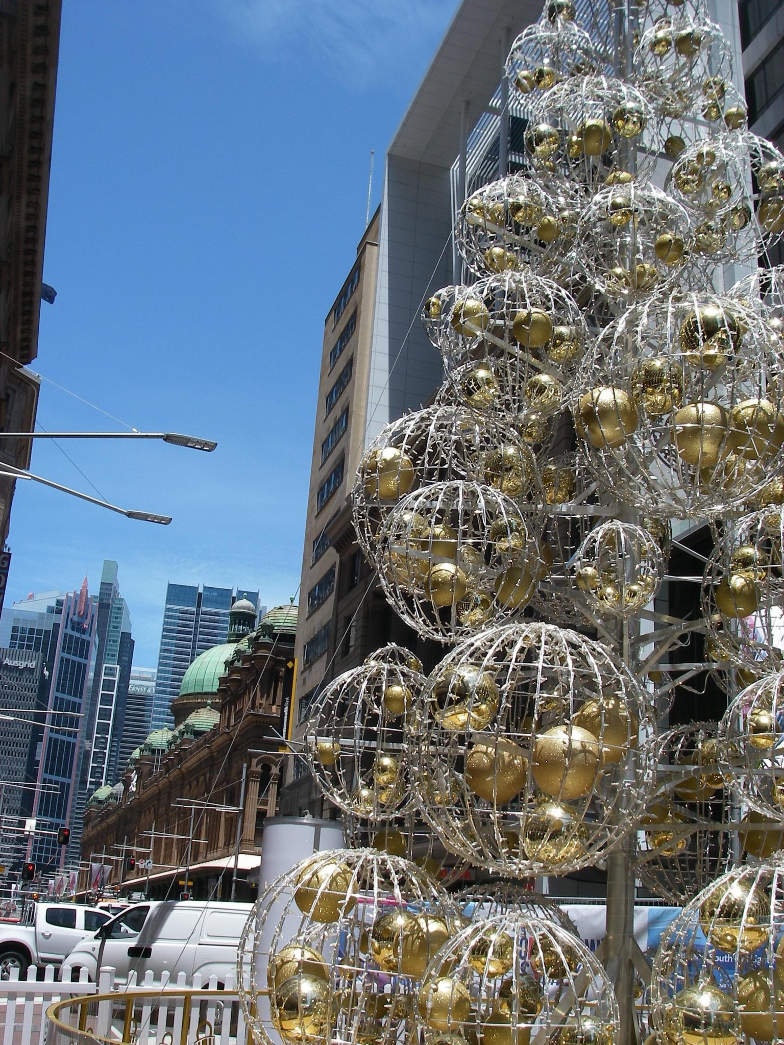 43. Another giant Christmas tree the City of Sydney displayed near the Queen Victoria building in the central business district of Sydney