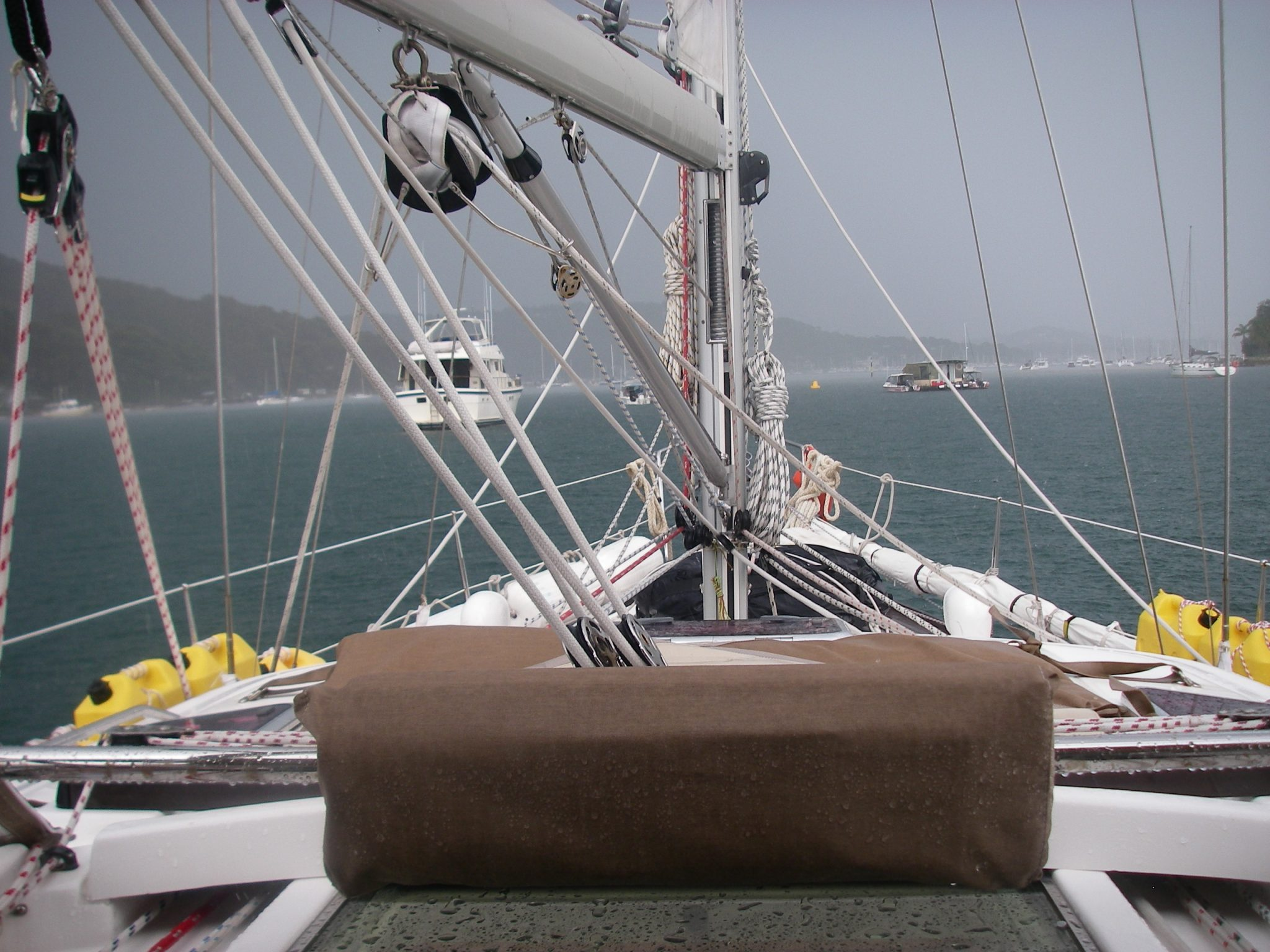 8. A sudden hailstorm pelted Joyful at her mooring in Pittwater, Australia.JPG